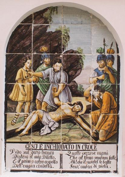 Gesu e inchiodato in croce, Crucifixion Jesus is nailed to the cross