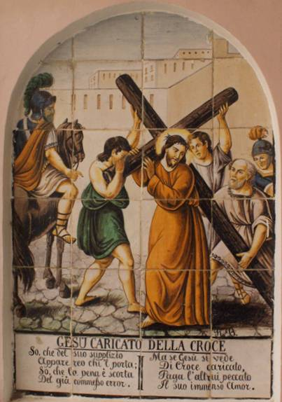 Gesu caricato della croce, Jesus is given his cross