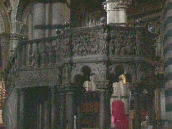 Pulpit by Nicola Pisano inside the Duomo of Siena
